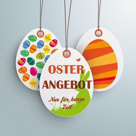 limited time: Price sticker with german text Oster Angebot and nur für kurze zeit, translate Easter Offer and limited time only.