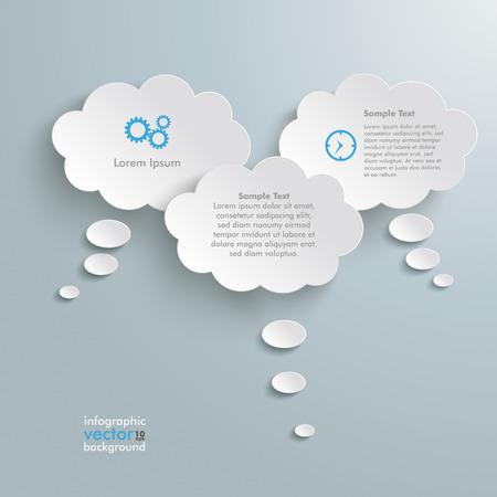 burbujas de pensamiento: Pensamiento burbujas en el fondo gris. Vectores