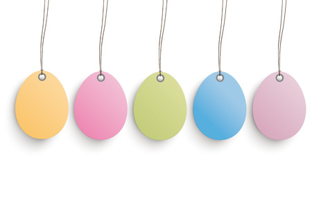 ten empty: 5 colored easter eggs on the white background.