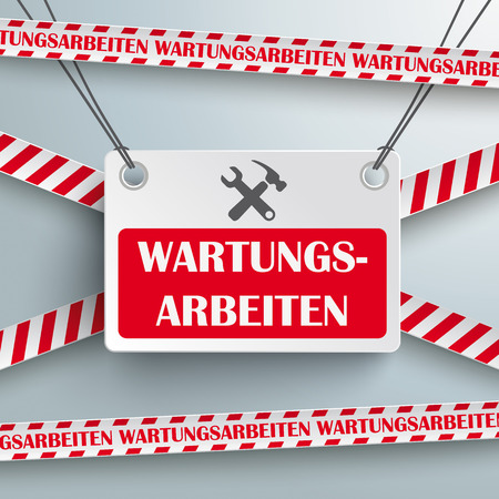 Template design on the grey background. German text 'Wartungsarbeiten', translate 'Maintenance'.  Vector