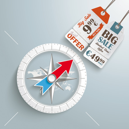 fund world: White compass on the grey background.
