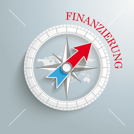 founding: White compass on the grey background. German text Finanzierung, translate Financing.  Illustration