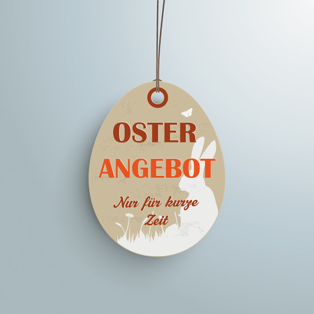 hale: Price sticker with german text Oster Angebot and nur f�r kurze zeit, translate Easter Offer and limited time only.