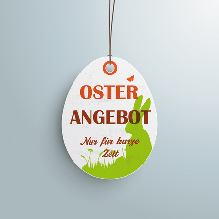 Price sticker with german text Oster Angebot and nur f�r kurze zeit, translate Easter Offer and limited time only. Vector