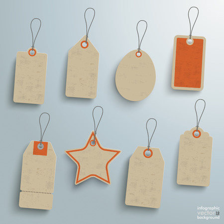 8 sale stickers on the grey background.  Vector