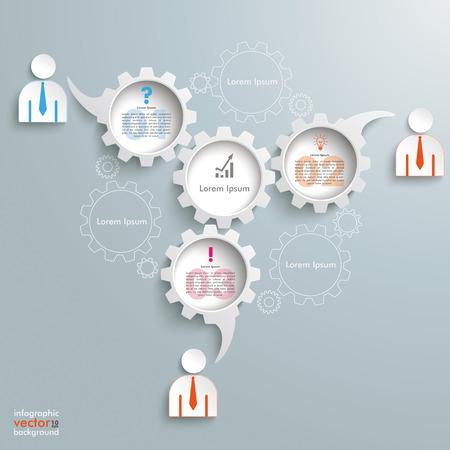 widget: Speech bubble gears on the grey background.   Illustration