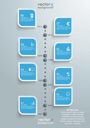 10 month: Timeline design with clouds on the grey background.  Illustration