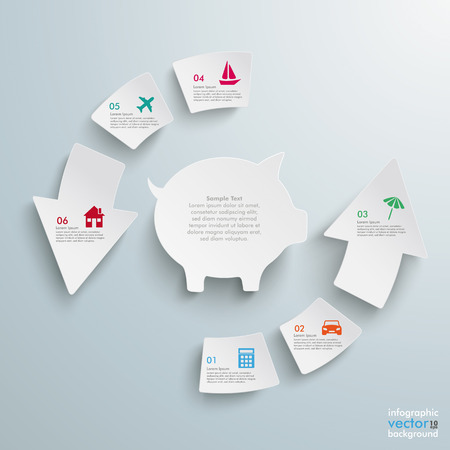 fonds: White arrows with piggy bank on the grey background.