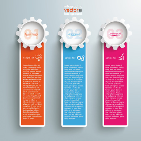 reklame: Infographic design colored banners on the grey background.