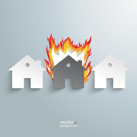 incendio casa: Infografía con casas blancas en el fondo gris. Vectores
