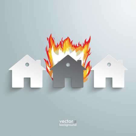 house on fire: Infographic with white houses on the grey background.
