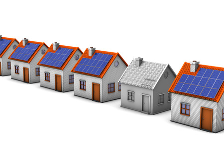solar roof: Houses with one unfinished house on the white background.