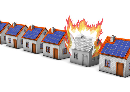 building fire: Houses with one with fire house on the white background. Stock Photo