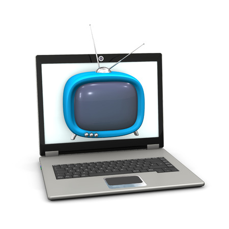 White small TV with antenna and laptop. White background. photo