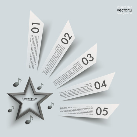 reklame: 5 cutting banners with star and music notes on the grey background.