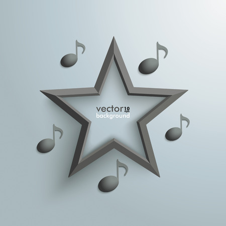 Music notes with black star on the grey background. Vector