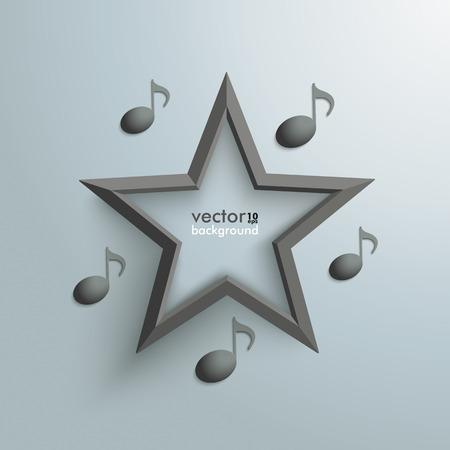 rockstar: Muziek notities met zwarte ster op de grijze achtergrond. Stock Illustratie