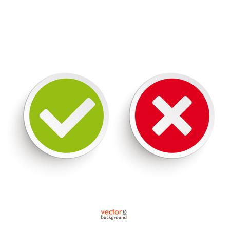 tick: Sí y no iconos redondas sobre el fondo blanco. Vectores