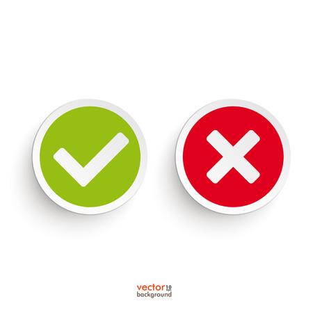 red x: Yes and no round icons on the white background.