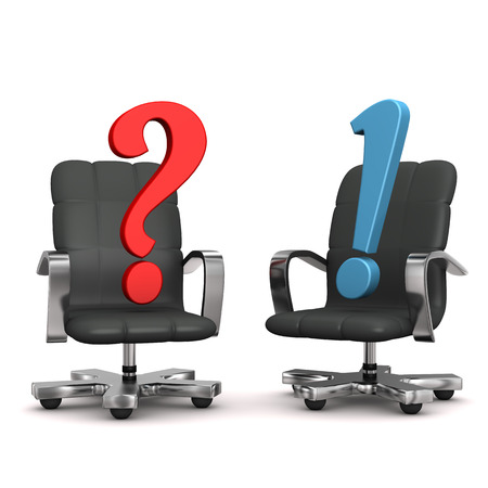 cfo: Two armchairs with question and exclamation marks. White background. Stock Photo