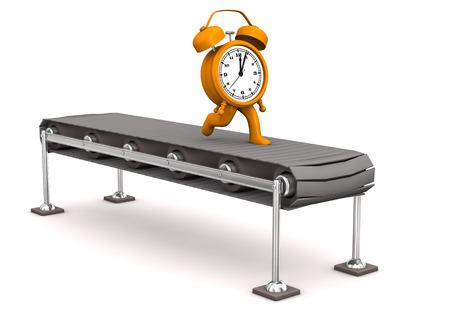 runs: Orange alarmer runs on the assembly line. White background.
