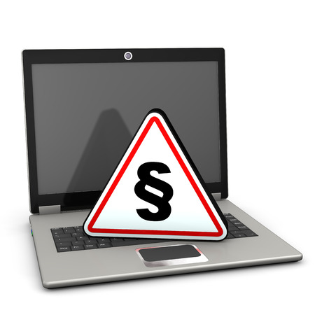 court proceedings: Laptop with warning triangle on the white background.