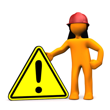 orange industry: Orange cartoon character as fireman with attention sign. White background. Stock Photo