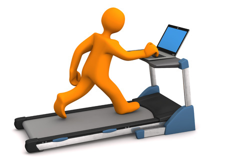 Orange cartoon character with laptop on the treadmill. White background. photo