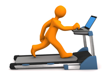 employe: Orange cartoon character with laptop on the treadmill. White background.