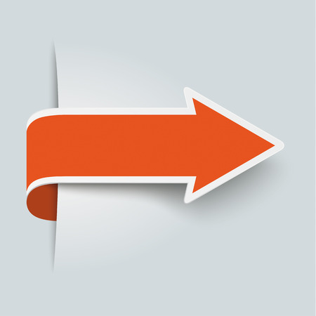 Big orange arrow on the grey background.  Vector