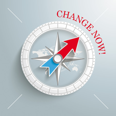 White compass with red text Change Now on the grey background.  Vector