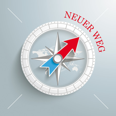 new way: White compass with red german text Neuer Weg, translate New Way on the grey background.