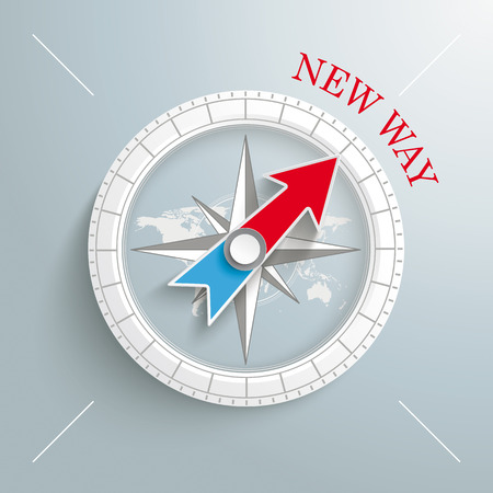 White compass with red text New Way on the grey background.   Vector