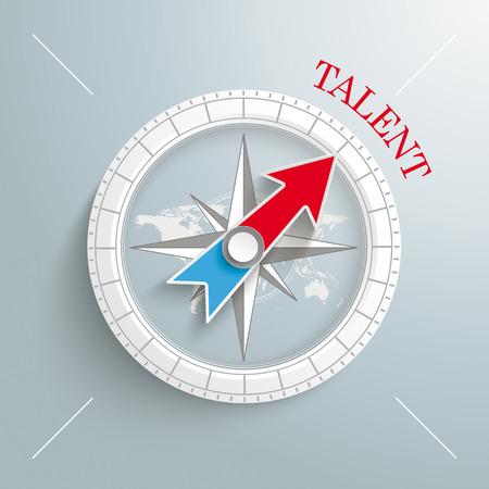 """Wit kompas met rode tekst """"Talent"""" op de grijze achtergrond."""