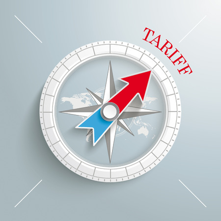 tariff: White compass with red text Tariff on the grey background.