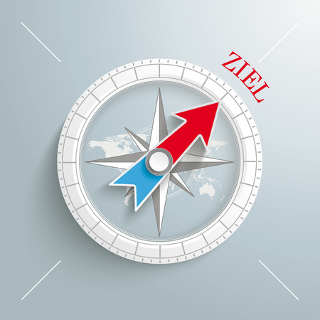 White compass with red german text Ziel, translate Target on the grey background.  Vector