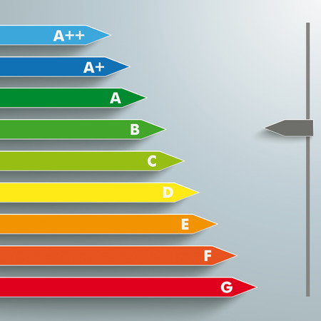 category: Energy efficiency category the grey background. Illustration