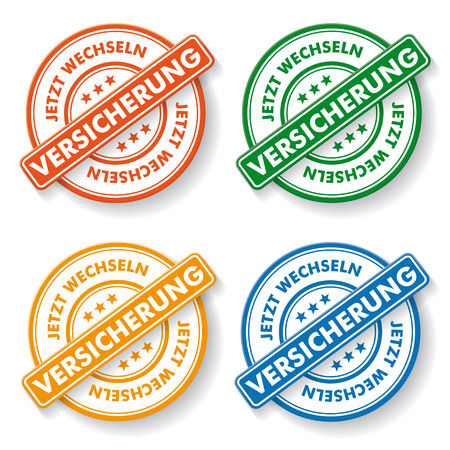 Stemp sticker with german text  jetzt wechseln versicherung, translate change insurance now.colorful paper labels.