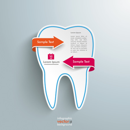 filling folder: Tooth with rectangles on the grey background.