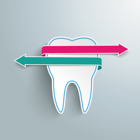 Tooth with rectangles on the grey background.  Vector