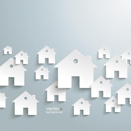 Infografik mit weißen Häusern auf dem grauen Hintergrund. Vektor-Datei.