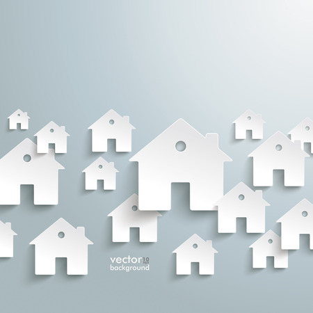 Infographic with white houses on the grey background. Vector file.