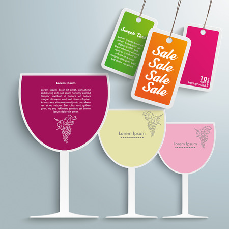 3 colored wineglasses on the grey background.  Vector