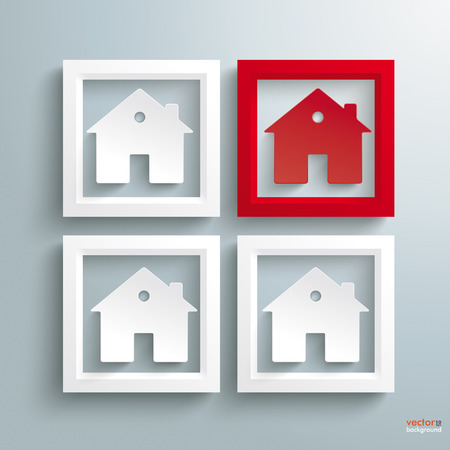 quadrat: Template rectangle design with houses on the grey background.