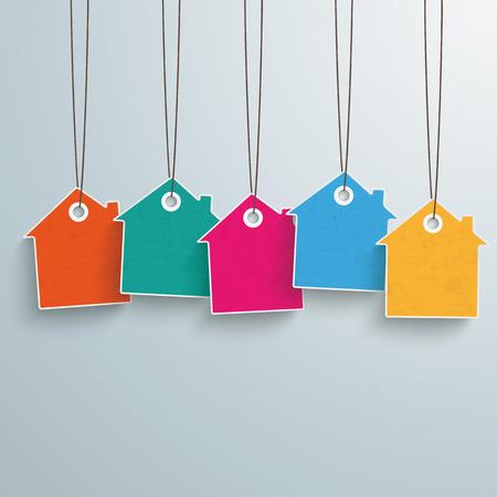 case colorate: Bianco prezzo casa adesivo su sfondo grigio. Vettoriali