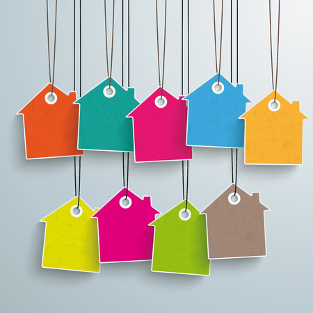 home shopping: White house price sticker on the grey background.  Illustration