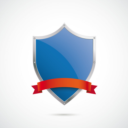 advocate: Infographic with protection shield on the white background.