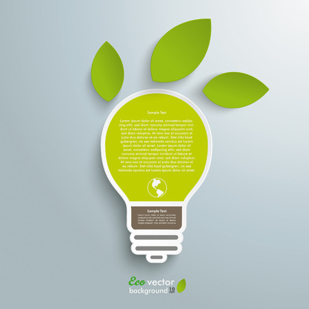 green light bulb: Infographic design with bulb on the grey background.  Illustration