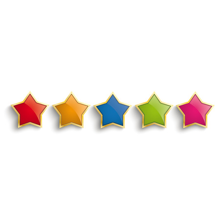 Golden stars on the white background.  Vector