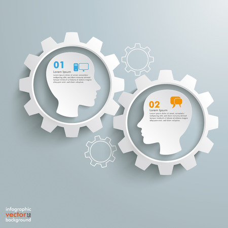 Gear machine with 2 heads on the grey background. Stock Vector - 29393559